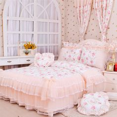 $85 The ladies house floral garden style Korean princess wedding bedding a family of four lace Dream Garden-ZZKKO