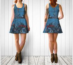 Blue Print Flare Dress, artist designed, wearable art, fadeless print, flared…