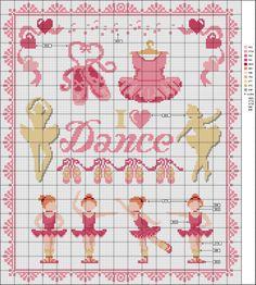 ♥ My Dot Graphics Cruz ♥: Ballerinas Cross Stitch For Kids, Cross Stitch Borders, Cross Stitch Baby, Cross Stitch Samplers, Cross Stitch Charts, Cross Stitch Designs, Cross Stitching, Cross Stitch Patterns, Baby Embroidery