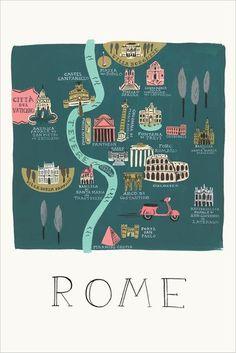 Rome Illustrated Art Print - Art Design - Map