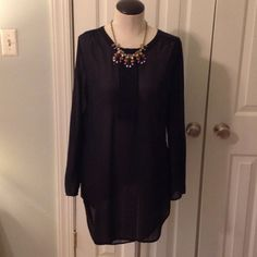 """SHEER BLACK SHIRT DRESS VERY PRETTY SHEER AND SEXY SHIRT DRESS.  CAN BE WORN WITH A CAMI AND LEGGINGS.  FRONT FROM SHOULDER TO BOTTOM IS 30"""", back is approx. 36"""".  100% POLYESTER Mossimo Supply Co Dresses Long Sleeve"""