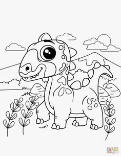 Little Dinosaur Brontosaurus Cartoon Coloring Pages For Kids