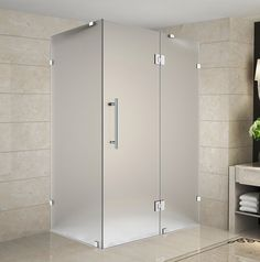 "Aston SEN987F-3732-10 Avalux 37"" Wide x 32"" Deep x 72"" High Frameless Hinged Sho Chrome Showers Shower Enclosures Hinged"