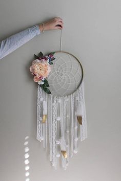 Your place to buy and sell all things handmade Doily Dream Catchers, Dream Catcher Decor, Dream Catcher Boho, Crafts For Teens, Arts And Crafts, Diy Crafts, Crochet Dreamcatcher, Candle Packaging, Felt Roses