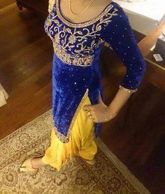 Yellow salwar with royal blue shirt