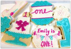 Birthday Sugar Cookies Cake Cookies Number Name Personalized first Birthday