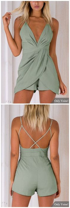 Fashion Deep V-Neck Sleeveless High-waist Playsuit With Shoulder Straps in Green Look Fashion, Fashion Outfits, Fashion Trends, Spring Summer Fashion, Summer Wear, Summer Fun, Summer Outfits, Cute Outfits, Latest Shoe Trends