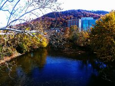 Roanoke River and view of Carilion Roanoke Memorial Hospital in Roanoke, VA