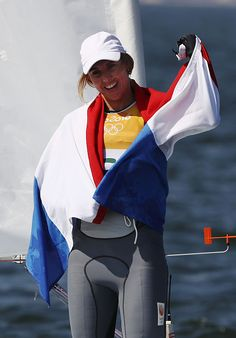 Marit Bouwmeester of the Netherlands celebrates winning the gold medal in the…