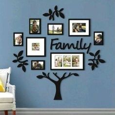Family Tree Photo Frame Picture Collage Sticker Wall Mount Home Decor Family Tree With Pictures, Family Tree Photo, Family Tree Frame, Photo Tree, Family Photos On Wall, Family Tree Mural, Family Trees, Family Picture Walls, Displaying Photos On Wall