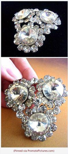 53c058774 JULIANA D&E Clear Rivoli Rhinestone Brooch Large, Silver Plating,  Vintage #brooch
