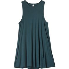 RVCA Women's Sucker Punch 2 Swing Dress ($45) ❤ liked on Polyvore featuring dresses, pine, high neck swing dress, blue dress, high neckline dress, blue swing dress and trapeze dress