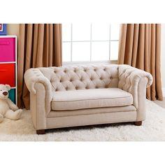 ABBYSON LIVING Kids Beige Linen Chesterfield RJ Mini Sofa - 17640494 - Overstock.com Shopping - Great Deals on Abbyson Living Kids' Chairs