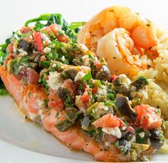 6 Mediterranean Diet-Inspired Recipes - like this salmon, mixed olives, tomato, and feta cheese recipe. inspiration 6 Mediterranean Diet-Inspired Meals To Try Tonight Mediterranean Salmon, Mediterranean Diet Recipes, Mediterranean Style, Healthy Recipes, Cooking Recipes, Cooking Food, Cooking Tips, Feta Cheese Recipes, Diet Meal Plans