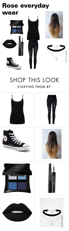 """Rose's everyday wear"" by lydia-rainbow on Polyvore featuring M&Co, WithChic, Converse, Illamasqua, Dolce&Gabbana, Lime Crime and ASOS"