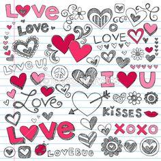 Valentine's Day Love and Hearts Sketchy Doodles Set — Imagens vectoriais em stock