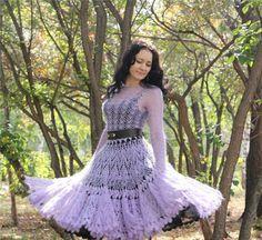 Crochet charts (including this lovely dress) Crochet Wedding Dress Pattern, Crochet Wedding Dresses, Wedding Dress Patterns, Diy Dress, Dress Skirt, Lace Dress, Bridal Skirts, Handmade Dresses, Knit Fashion