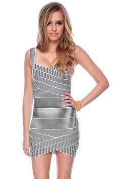 Striped Bandage Dress in Black and White $57 at www.tobi.com