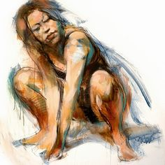 """""""Spring Fresh"""" by Brian Smith, crouching female mixed media drawing. Good model pose."""