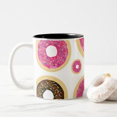 Pink & Brown Sprinkle Donuts Modern Fun Cute Two-Tone Coffee Mug - girl gifts special unique diy gift idea