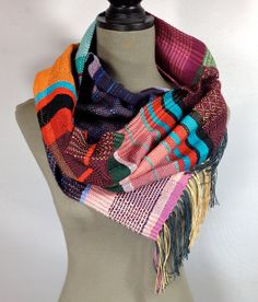 Nat // Handwoven Sapphire, Tangerine & Aubergine Scarf // Woven Women's Fashion // Table Runner // Striped Accessory // Gifts under 100 by pidgepidge on Etsy Cozy Scarf, Plaid Scarf, Wearable Art, Autumn Winter Fashion, Hand Weaving, Shawls, Womens Fashion, Sapphire, How To Wear