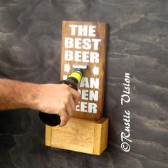 Beer Sign Bottle Opener with Easy to Empty Cap Catch- groomsmen gift idea on Etsy, $37.14 CAD