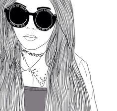 Image via We Heart It #art #blackandwhite #draw #drawing #girl #glasse #grunge #hair #hipster #outline #vintage