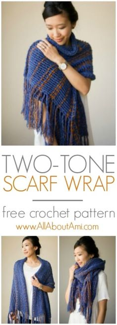 Crochet this gorgeous scarf wrap that can be worn in various ways!  Both sides have a different texture, and it uses the technique of weaving in a contrast color!
