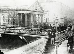 Loew's Footbridge, Broadway and Fulton Street, ca. 1868.  NYHS Image #73852.
