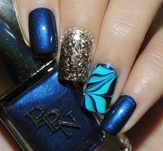 Water marble nail art on accent nail using Pink Princess Nails (PPN) Polishes and Ella+ Mila: ☆ Drippin' Gold ☆ glitter polish