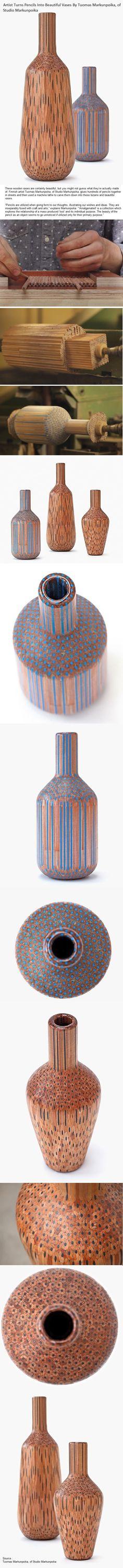 Artist Turns Pencils Into Beautiful Vases