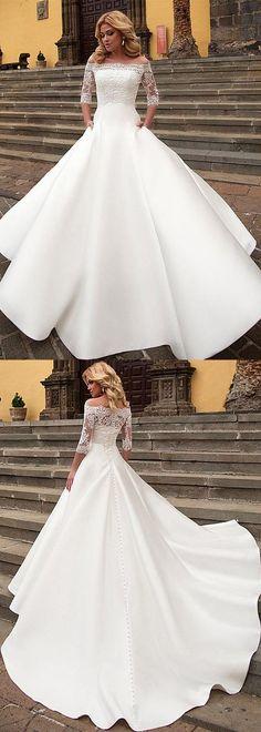 Modest Satin Off-the-shoulder Neckline Dropped Waistline A-Line Wedding Dress With Pockets & Detachable Jacket