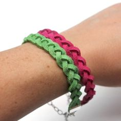 Make your own braided suede bracelets. Easy to make and fun to wear!