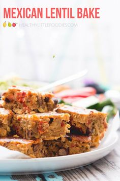 Delicious lentil bake packed with lentils, beans and vegetables. Great for baby-led weaning and for the lunchbox. #lentil #bake #lunchboxideas
