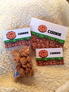 Minecraft Party Cookie Food Sign Tent and Cookie Topper Labels for Birthday Party Favor Bags #minecraft