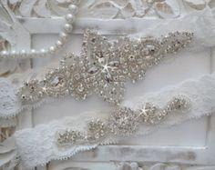 Wedding Garter Set, Bridal Garter Set, Vintage Wedding, Lace Garter, Crystal Garter Set - Style 100A