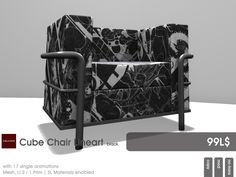 From 22769 ~ [bauwerk] you find the Line Art Cube Chair at the July cycle of the mens.dept. The Cube Chair is availabel in two styles (black and white) for just 99 L$ each.  Each chair has 17 single sitting animations included. This mesh item is already sl-materials enabled and counts to your landimpact with 2 / 1 Prim.  Here is your cab to the mens.dept. http://maps.secondlife.com/secondlife/The%20Pea/120/51/22