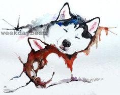 Bunte Mops Art Print Druck von meiner Original von WeekdayBest