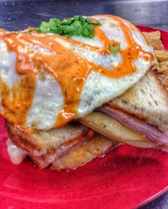 It's FRIDAY!! Stuff your face!! Ham provolone Swiss Reuben sauce over easy!!! #knoxrocks #breakfast #lunch #knoxville  Holly's Gourmets Market  #Knoxville #Catering #Wedding #Lunch #Breakfast #Restaurant