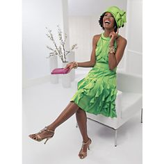 """Trend for 2013 Retro Flapper Style from - Orlando Dress from ASHRO - Unique social occasion style is further enhanced with beaded trim. Rounded neckline, cascading ruffles on skirt's vertical seams and self-fabric tie belt. Back zipper. 40"""" L. Lined. Available only in Lemon Lime. Polyester. Dry clean. Imported - If your Color is Green, this will make a great Hostess Dress!"""