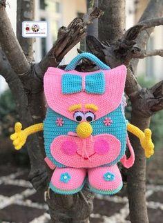 Dianys Crochet Crochet Beach Bags, Baby Girl Crochet, Crochet For Boys, Crochet Bags, Easy Crochet Socks, Handmade Kids Bags, Baby Rucksack, Crochet Shoulder Bags, Crochet Backpack