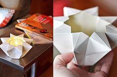 Portavelas de Origami   Descargables Gratis para Imprimir: Paper toys, Origami, tarjetas de Cumpleaños, Maquetas, Manualidades, decoraciones fiestas, dibujos para colorear. Printable Freebies, paper and crafts