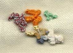 Drizzle stitch samples in different fibers from Focus on Fiber: Take a Stitch Tuesday