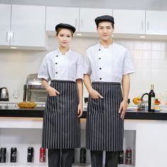 2018 Unisex Cook Clothes Men Single Breasted High Quality Kitchen Cook  Uniform Kortärmad Restaurang Bageri Servitör Top 39037d07f9620