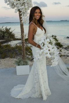 beach open back wedding dress via katie may | Beach weddings ...