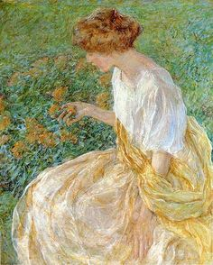 Robert Lewis Reid (1862-1929)  The Yellow Flower aka The Artist's Wife in The Garden