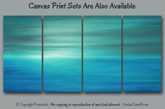 Blue abstract painting Teal aqua Turquoise Gray Panoramic