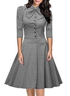 Official Bow Neck Plaid Slim Half Sleeve Vintage Dress
