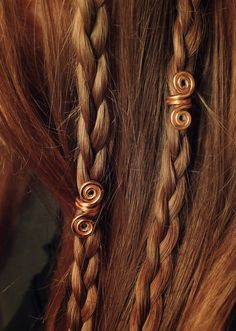 Gold New Pair of Viking hair beads Hair beads by LoitsuCrafts