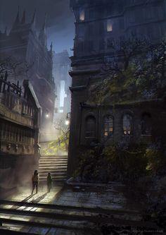 Night City, Jordan Grimmer on ArtStation at… Fantasy City, Fantasy Places, Fantasy World, Dark Fantasy, Arte Peculiar, Fantasy Concept Art, Fantasy Setting, Matte Painting, Night City